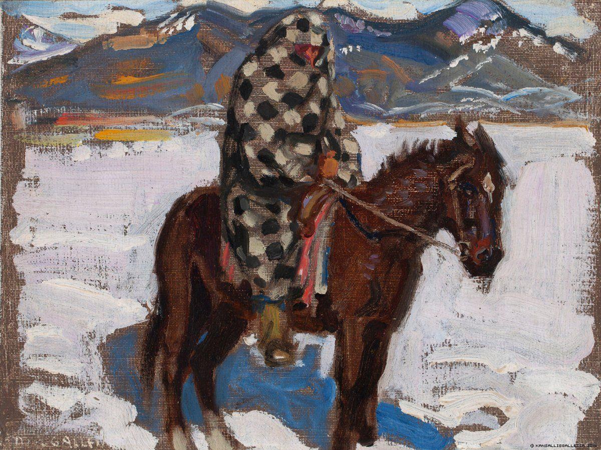 Intiaani ratsain lumessa, 1925