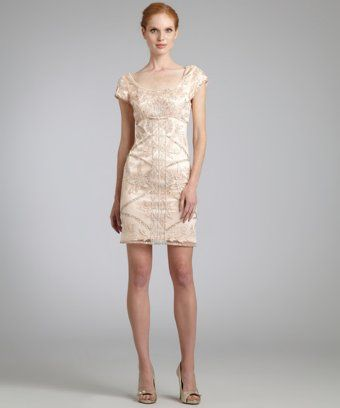 259b4dfffc9 Sue Wong   blush sequined scoop neck cap sleeve dress