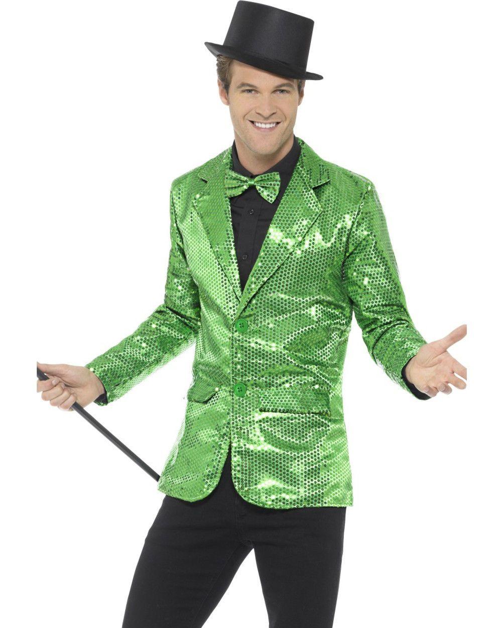 6fe3983ec5a Mens Fancy Dress Green Sequin Magicians Tuxedo Jacket Costume ...