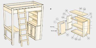 Free Bedroom Furniture Plans Bunk Bed Loft