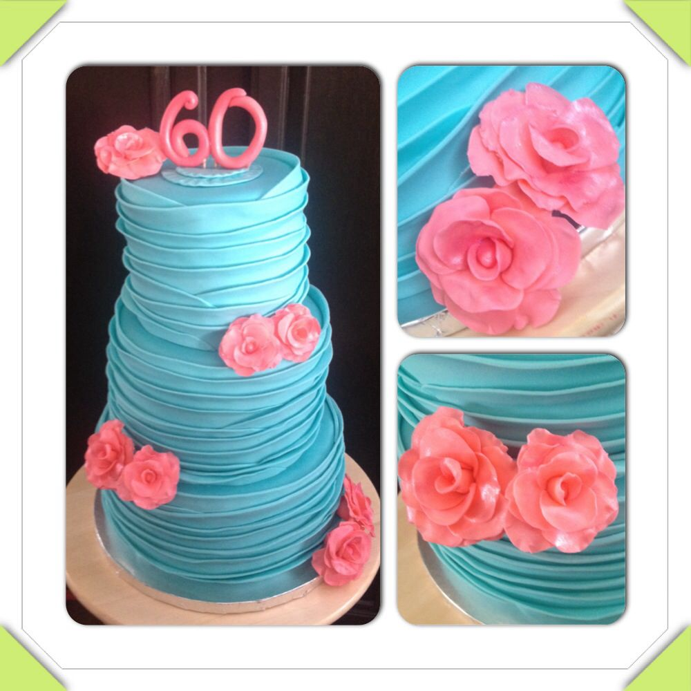 Tiffany blue and pink/coral extra tall 3-tier 60th birthday cake with ruffles and roses. www.facebook.com/cakeitorleaveitcakesbymarianne