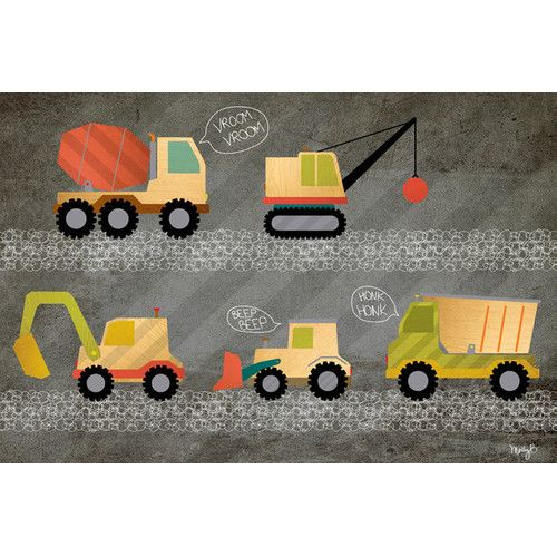 Found it at AllModern - Beep Beep - Construction Trucks Canvas Art