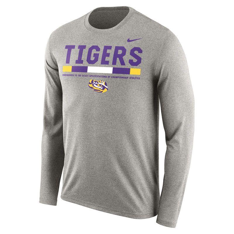 Men's Nike Charcoal LSU Tigers Sideline Staff Long Sleeve