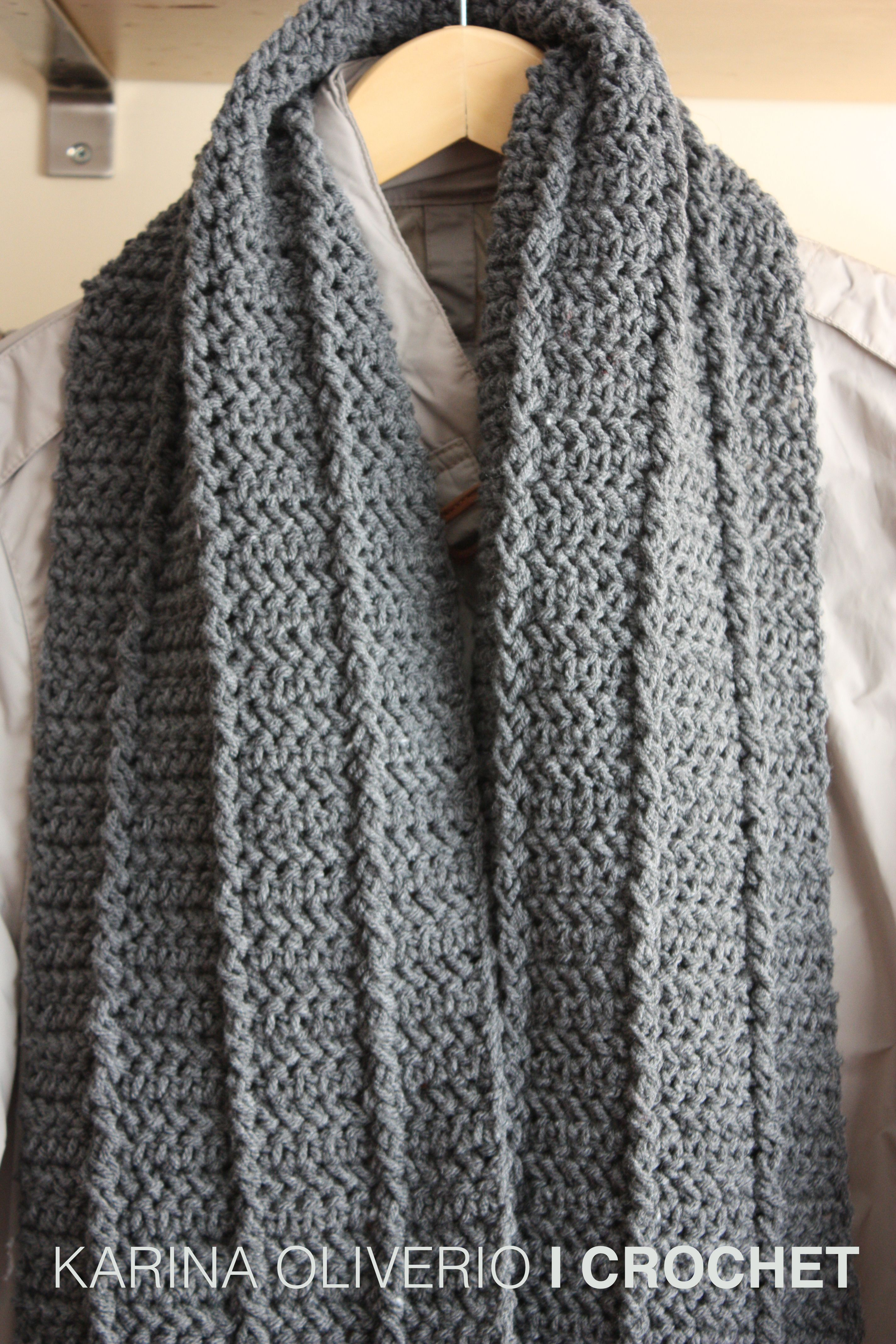 Crochet man scarf pattern, bufanda a crochet con patrón ...