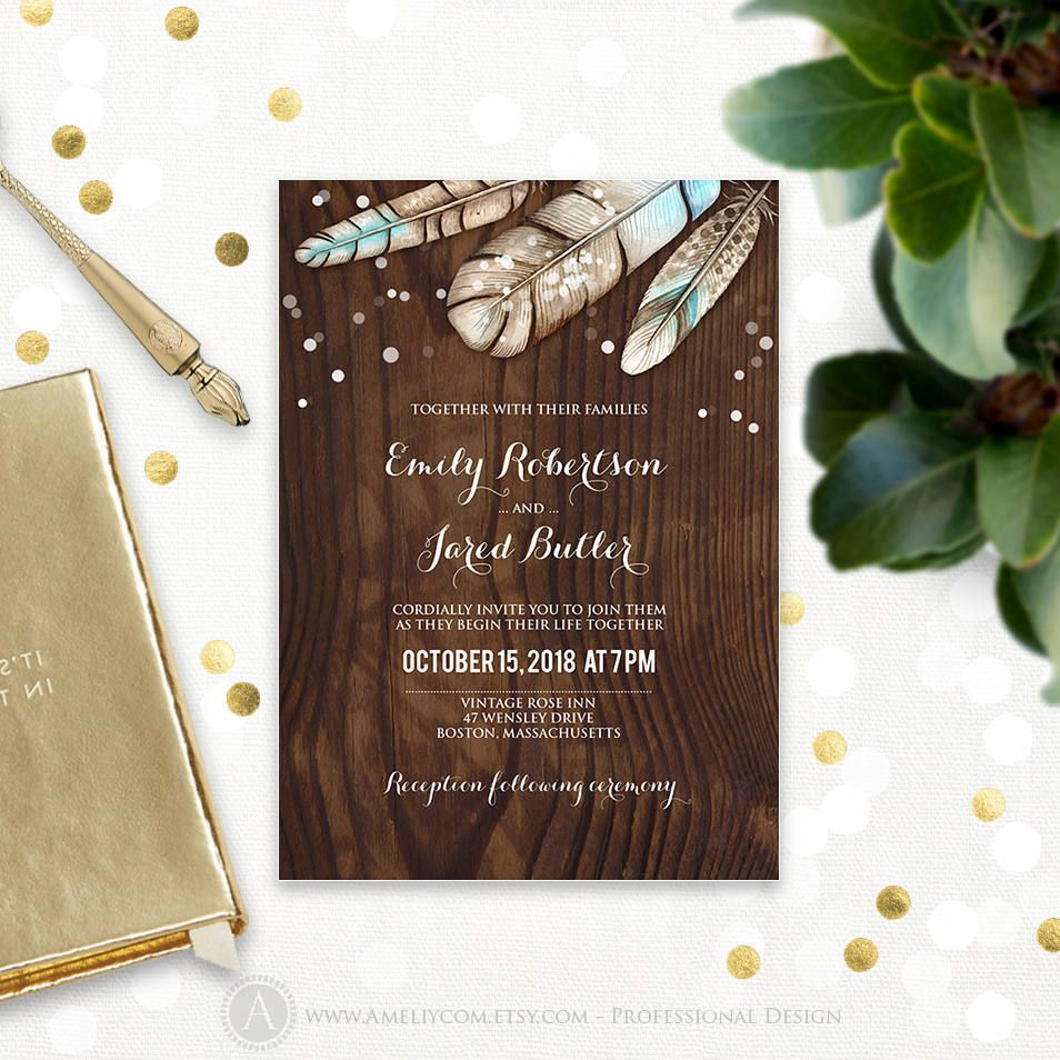 Wood Wedding Invitation Printable Invite Rustic Wedding Invitation Template Boho Feathers Invite Editable Outdoor Wedding Instant Download Wood Wedding Invitations Wedding Invitation Templates Rustic Wedding Invitations Rustic
