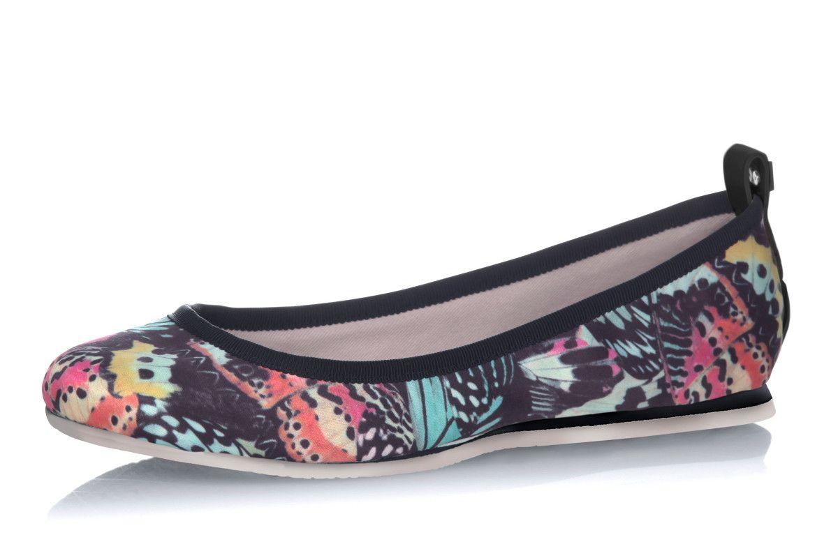1969f29b8117 Butterfly Twists Heidi Multi Butterfly Print Black Memory Foam Flat Ballet  Shoes