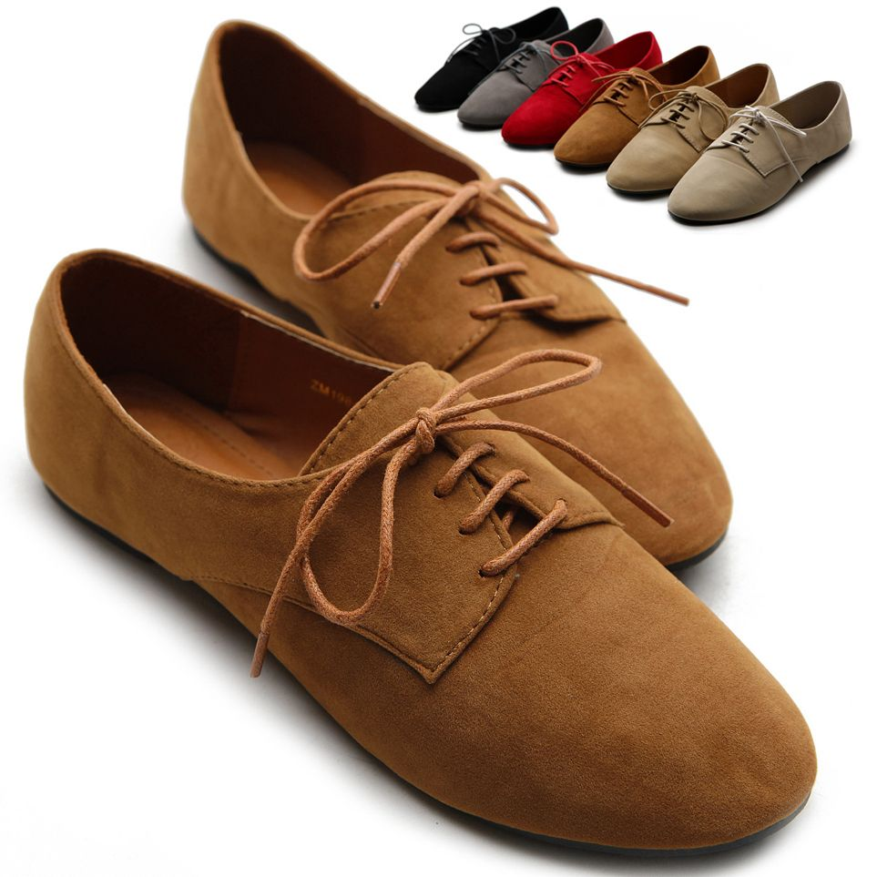 1f7900e249e98 Details about Womens Suede Like Oxford Lace Ups Ballet Flat Loafers ...