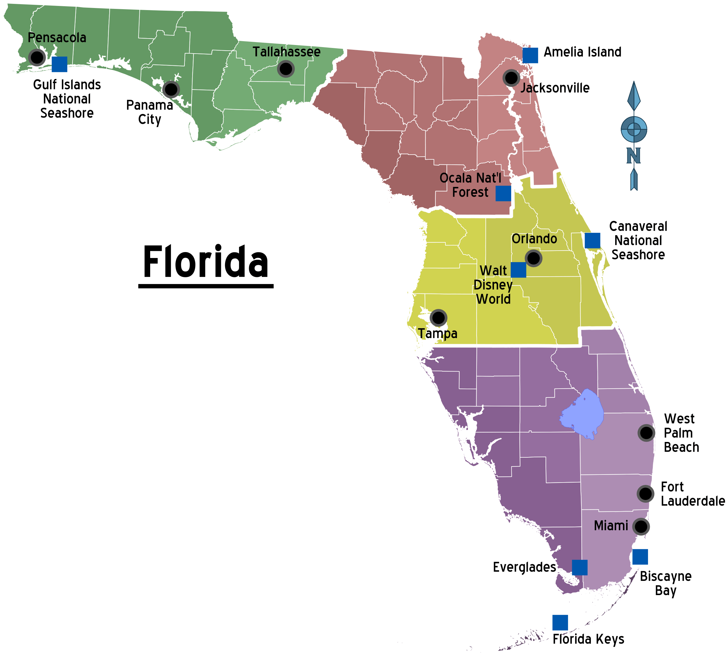 Florida Regions Map With Cities Florida Travel Guide Florida County Map Florida Travel
