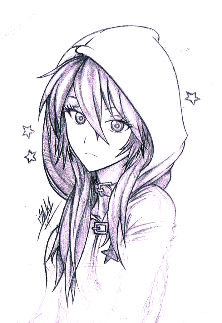Hoodie Anime Girl Drawing : hoodie, anime, drawing, Drawings