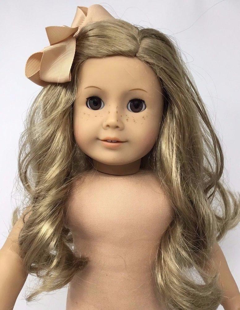 American girl doll long blonde hair brown eyes preowned