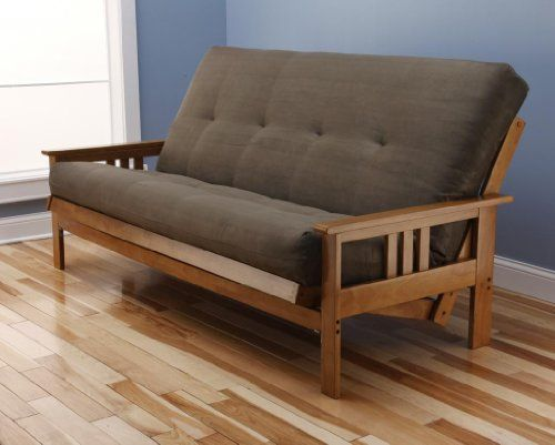 futon sofa bed. Andover Full Size Futon Sofa Bed, Honey Oak Wood Frame, Suede Innerspring Mattress, Bed
