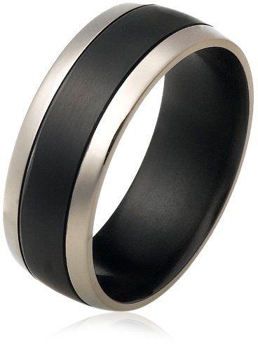 Matte Finish 8mm Stainless Steel Domed Wedding Band Ring w// Black Stripe Center