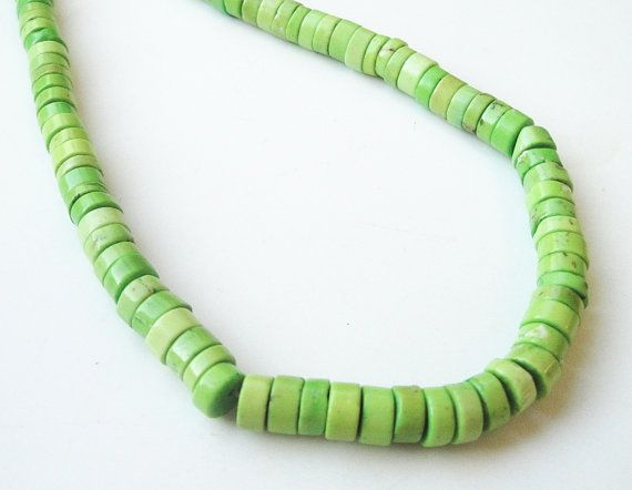 Lime Green Turquoise Coin Disc/ Beads / Whole Strand by BijiBijoux, $9.75