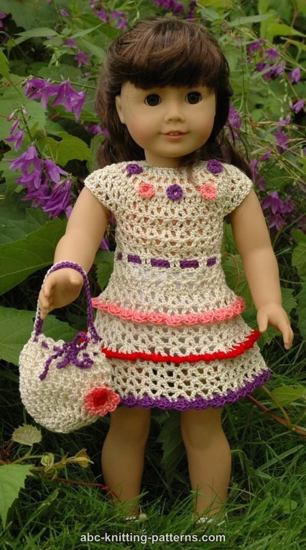 Abc Knitting Patterns American Girl Doll Wildflower Dress With