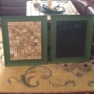 My new chalkboard and wine cork board I made! DONE!