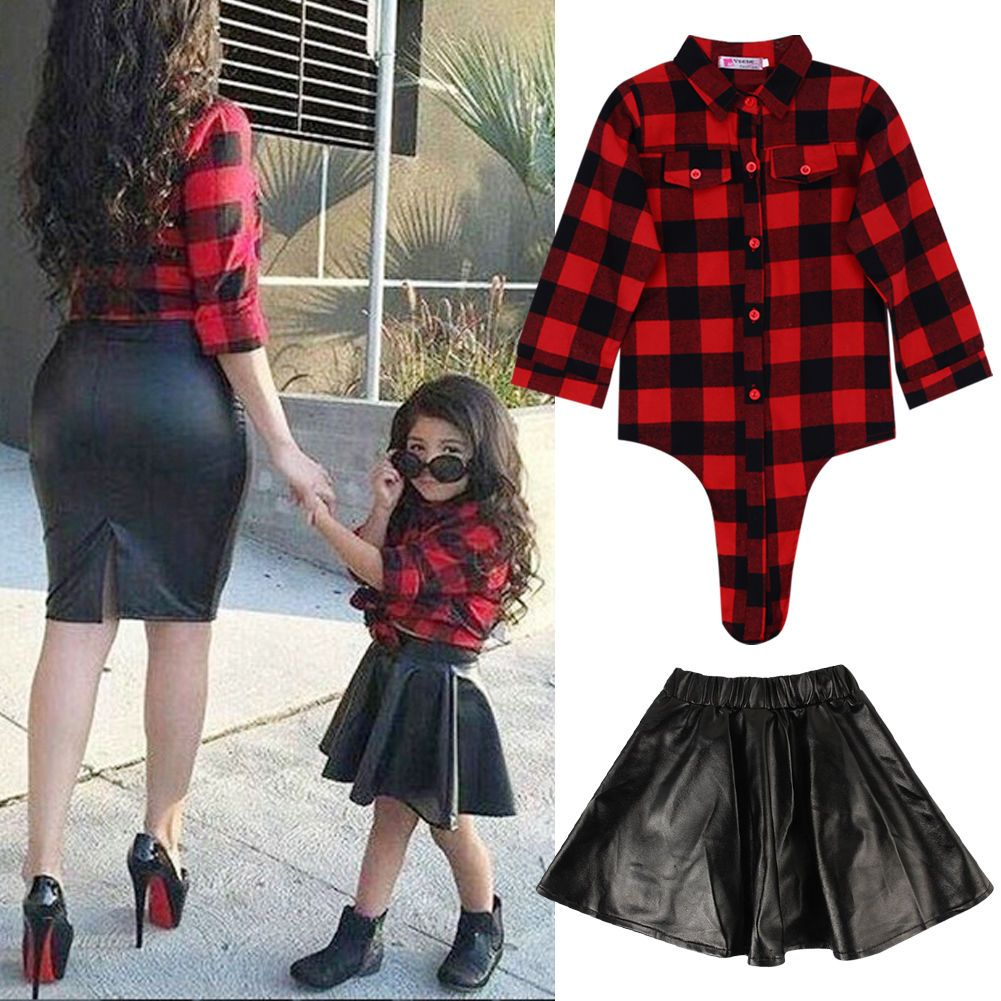 2ba627144 Kids Baby Girls Outfits Clothes T-Shirt Top+Leather Skirt Dress Toddler  2Pcs Set