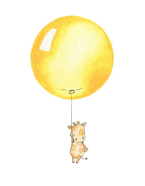 Bright Yellow Balloon, UNFRAMED Nursery Art Print, New Baby Present, Kids Picture, Whimsical Giraffe Character, Modern bedroom decor