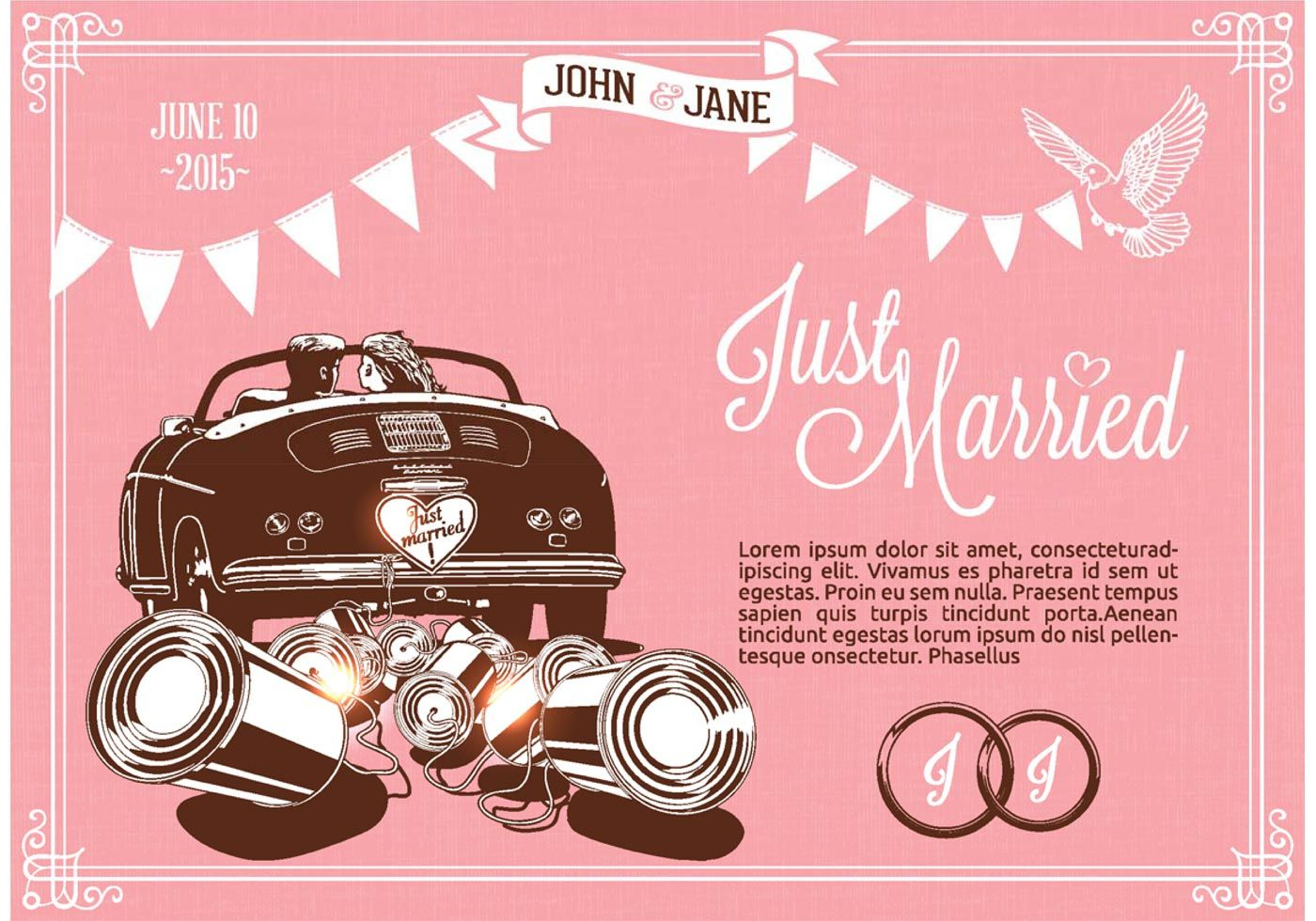 just married on car vector illustration in drawing style