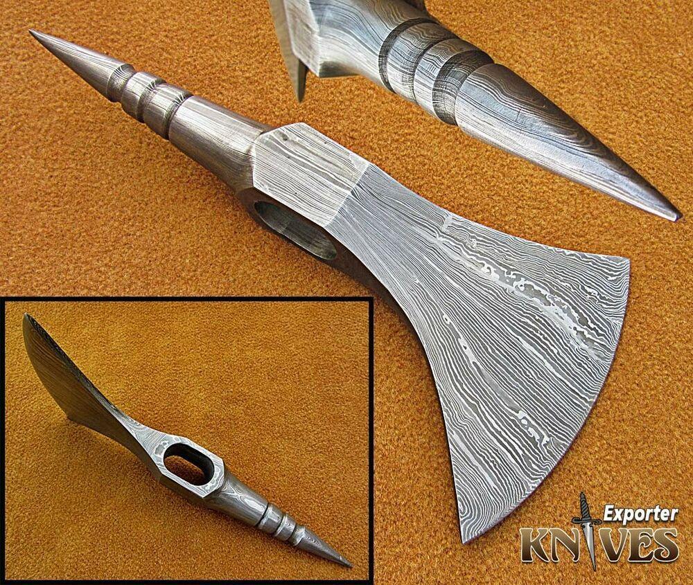 KNIVES EXPORTER Forest Hunter Bearded Damascus Steel Blank Axe Head