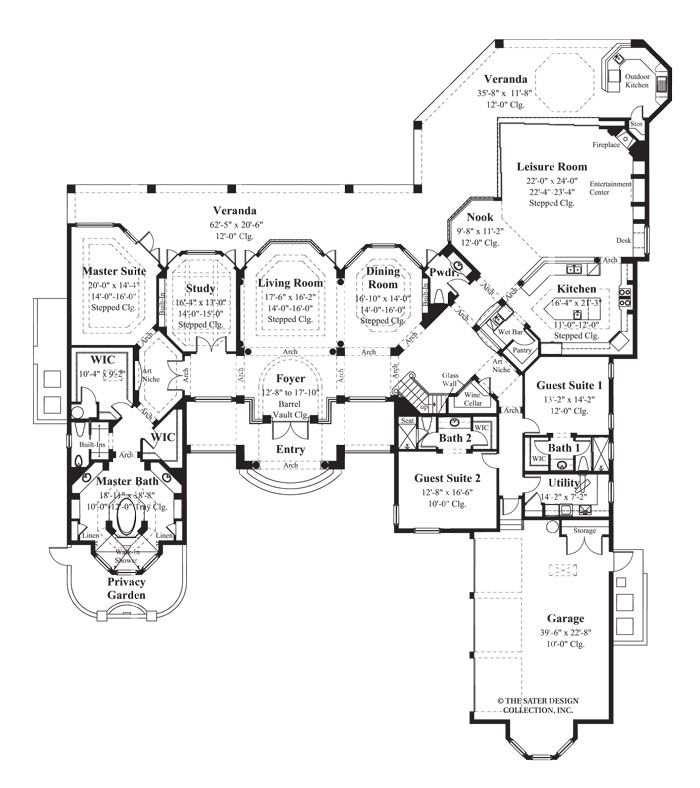 "Award Winning Mediterranean House Plans: Sater Design Collection's 6925 ""La Ventana"" Floor Plan"