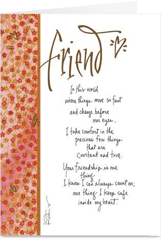 Constant Friendship Birthday Greeting Card By Kathy Davis