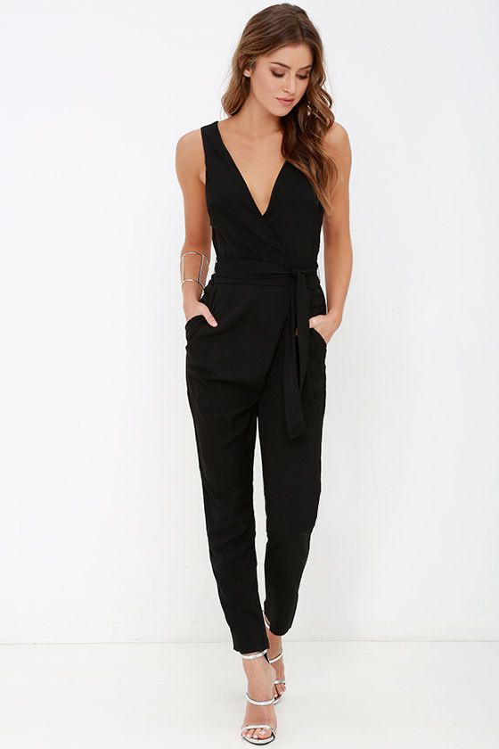 4de5e6e6a31 Advanced Degree Black Sleeveless Jumpsuit at Lulus.com!