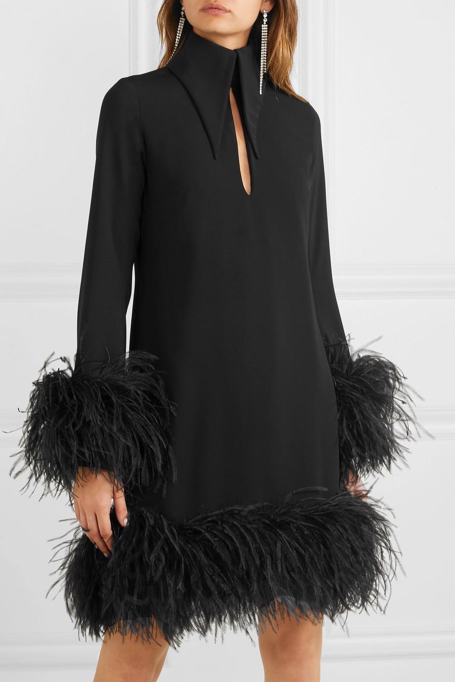 Black Michelle Feather Trimmed Mini Dress 16arlington Feather Dress Fashion Dresses [ 1380 x 920 Pixel ]
