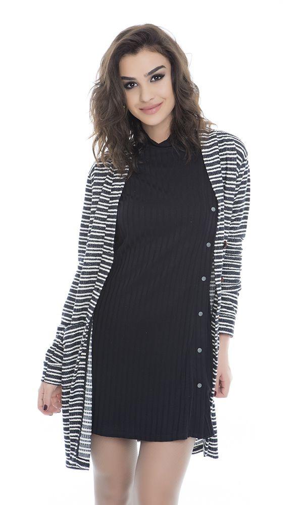 Casaco de tricô, Ref. B8960 Vestido canelado, Ref. V2711