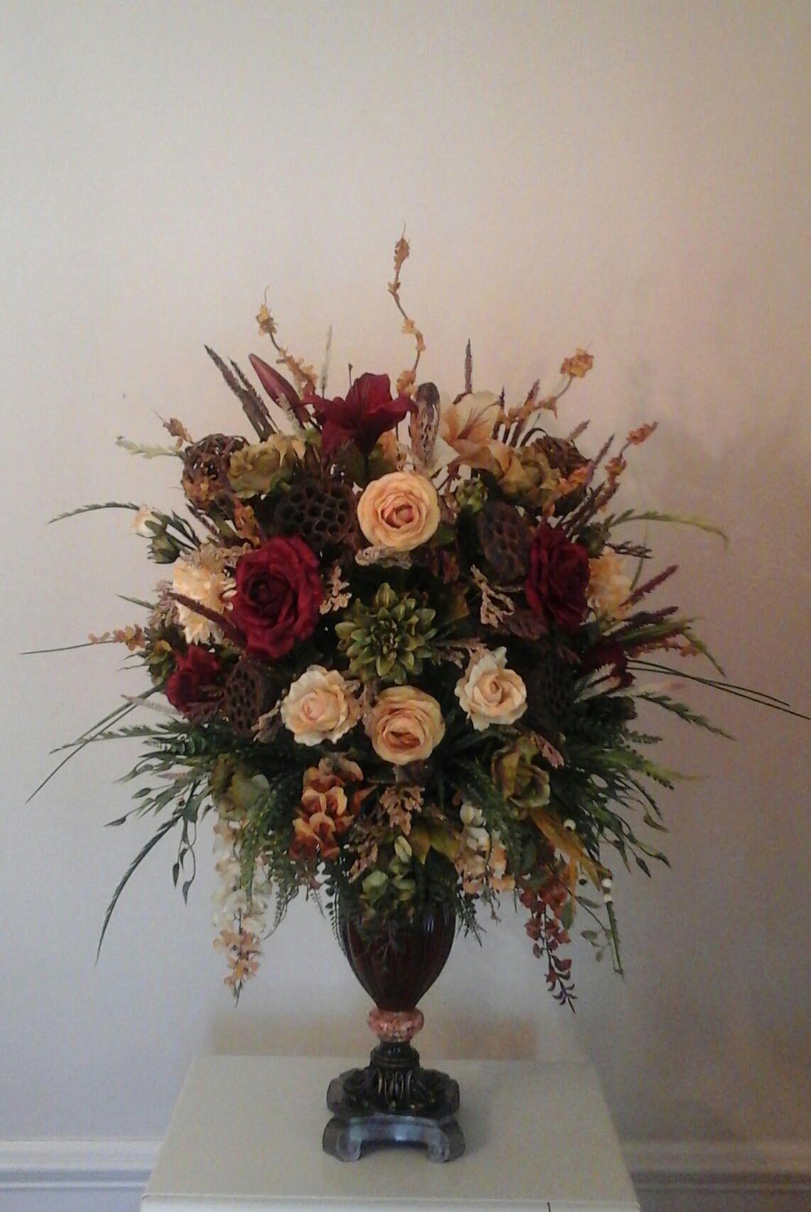 Floral Arrangement Large Silk Tuscan Floral Centerpiece