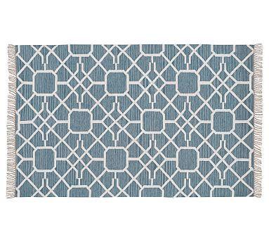 Diamond Maze Synthetic Indoor Outdoor Rug Blue Lg