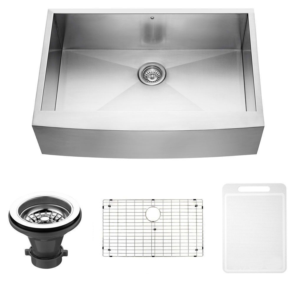 Vigo Camden Stainless Steel 33 Inch Kitchen Sink Grid And