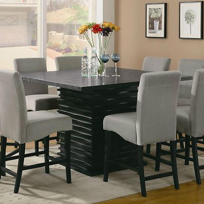 Contemporary Counter Height Black Dining Table Chairs Dining Room Custom Black Dining Room Furniture Sets Decorating Design