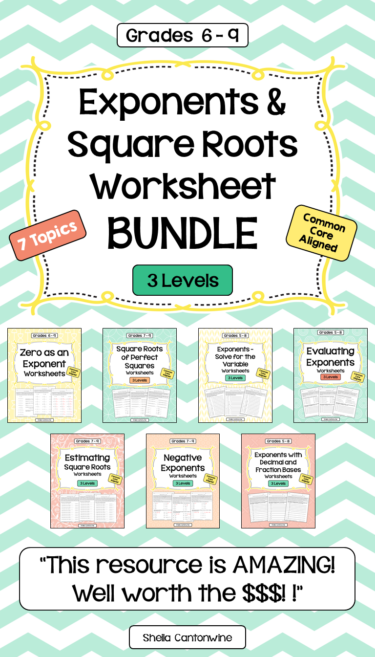 Exponents and Square Roots Worksheet BUNDLE Writing