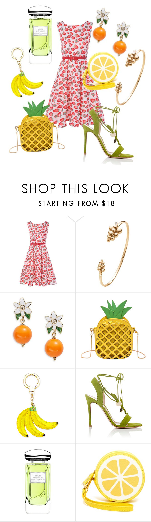 """fruity fashion"" by angelina-vanessa ❤ liked on Polyvore featuring Georg Jensen, Kate Spade, Gianvito Rossi, By Terry and Shiraleah"