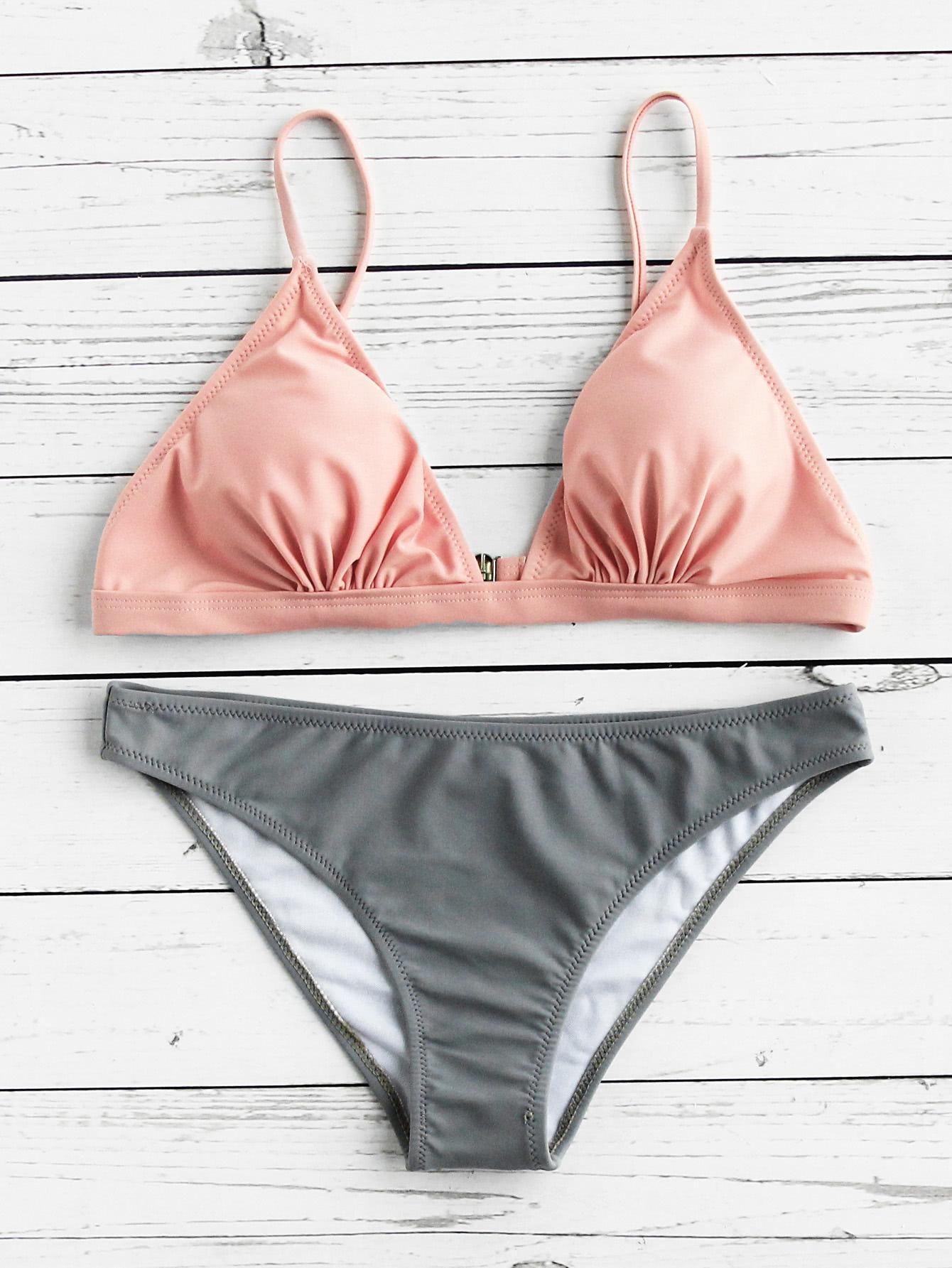 30dfb11959 ROMWE - ROMWE Two Tone Triangle Bikini Set - AdoreWe.com   swimsuits ...