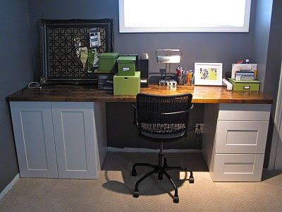Craft Desk From Ikea Kitchen Cabinets And Countertop Longer With