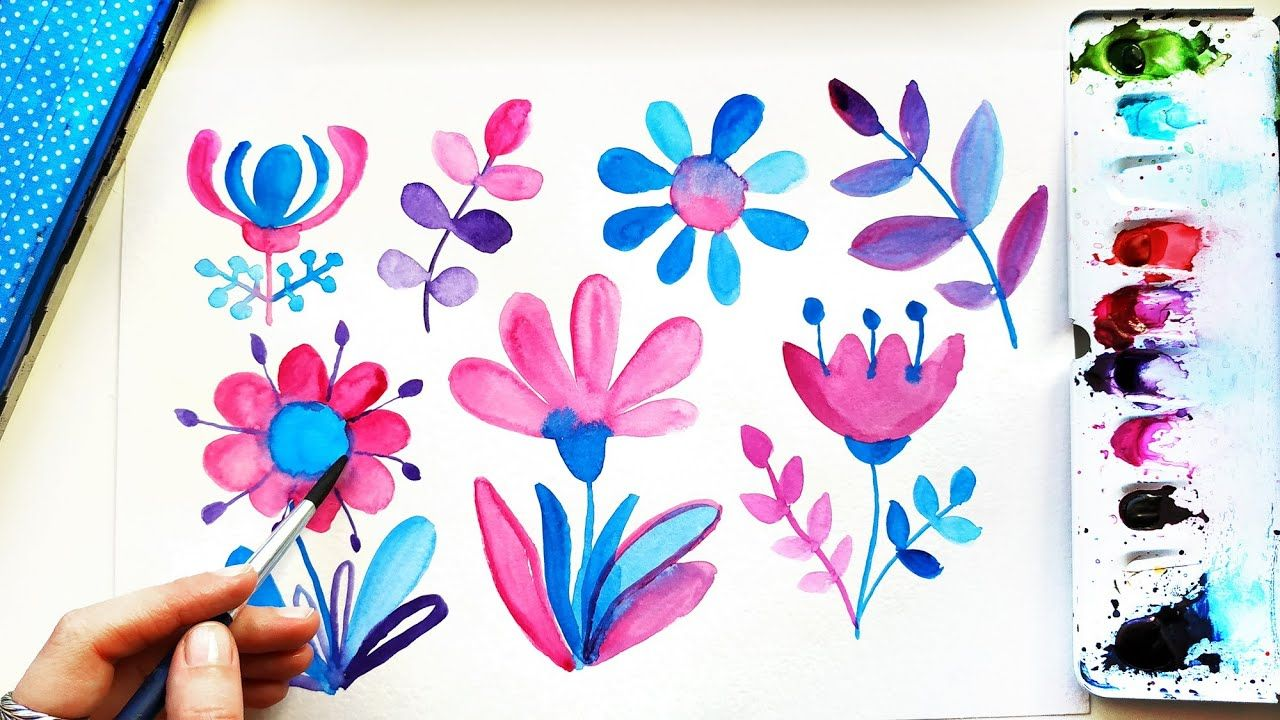 Watercolor Doodle Ideas For Beginners Easy Flowers Painting