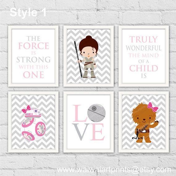 star wars rey princess leia bb chewie nursery decor pink gray girl