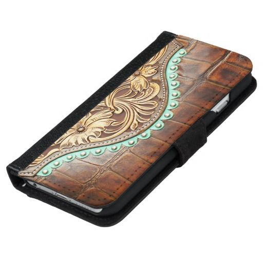 best service c12a0 6910d Western Style Tooled Leather Look Print Wallet Phone Case For iPhone ...