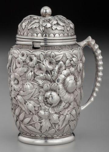 Gorham Silver Floral Repoussé Mustard Pot, Providence, Rhode Island, circa 1880.