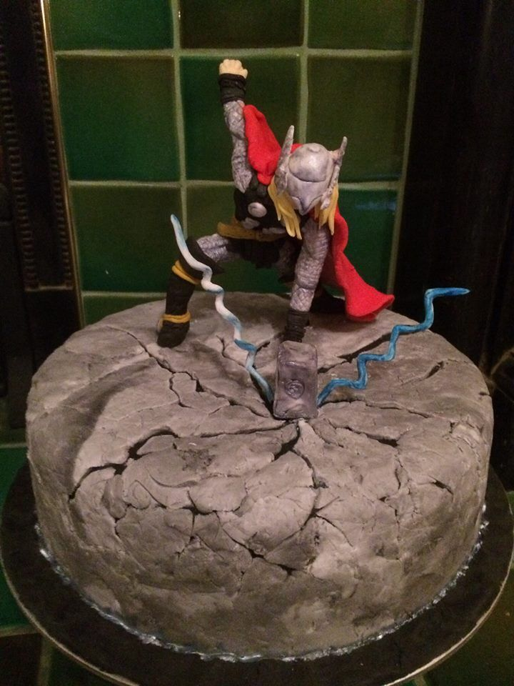 Mighty Thor Cake! Marvel Avengers http://toughcookiesbakehouse.wordpress.com/2014/02/03/so-i-made-a-cake-and-thor-went-and-smashed-it-%f0%9f%98/