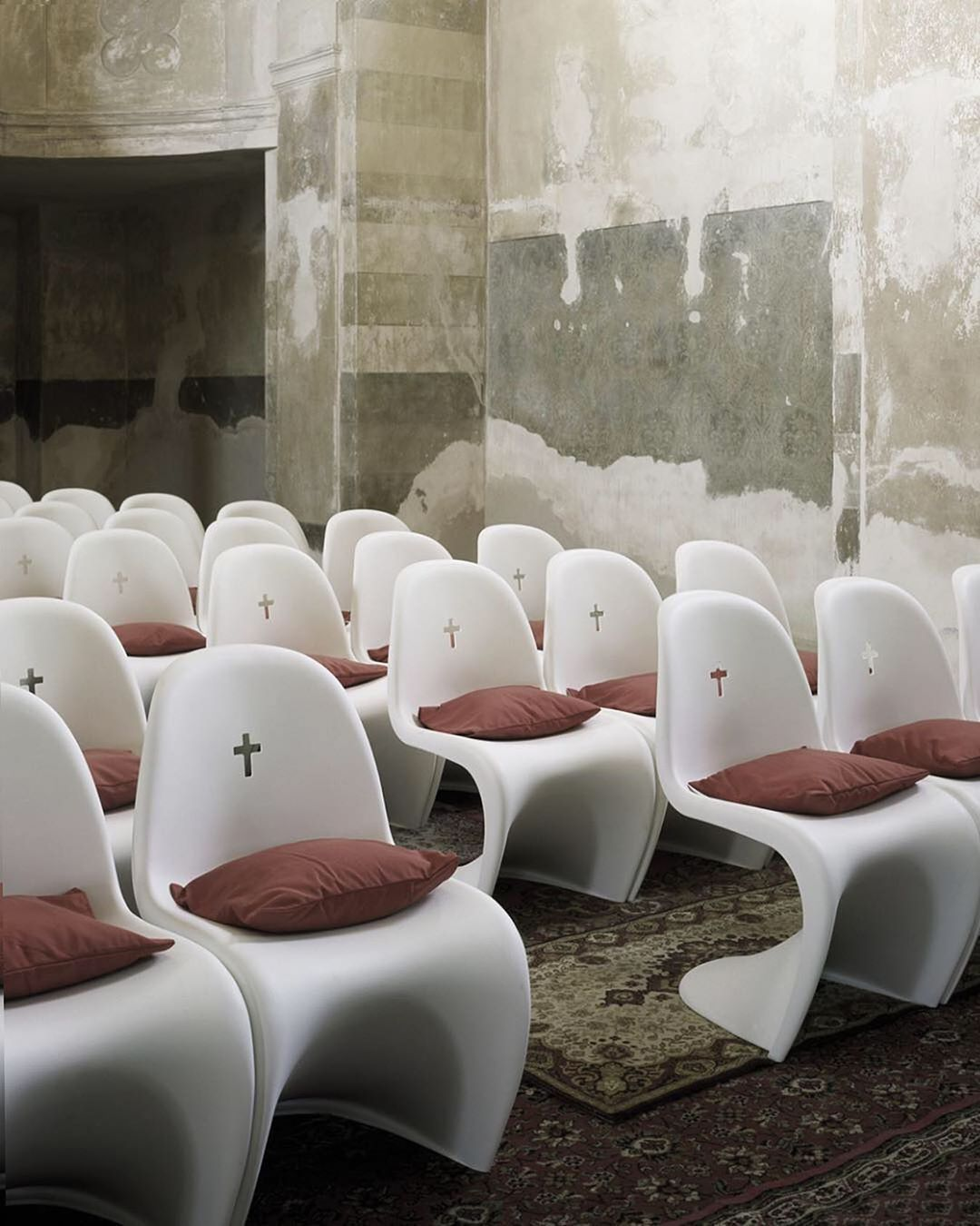 Obsolete Inc On Instagram Rows Rows Of Custom Verner Panton Chairs For A Redesign Of St Bartholomew S Churc Panton Chair Church Design Verner Panton Chair