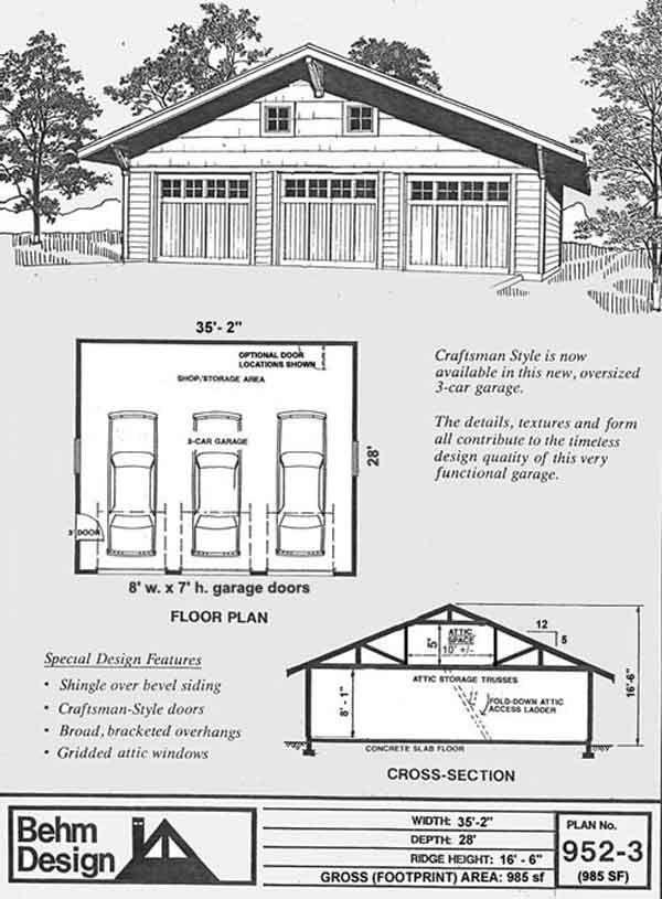 3 Car Craftsman Style Garage Plan 952 3 By Behm Design Garage Plans Garage Design Garage Plan