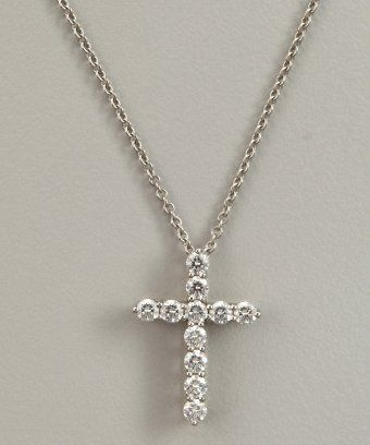 5fe85a499 Tiffany & Co diamond and platinum cross pendant necklace : style # 320750301