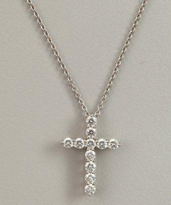 2820029989e Tiffany   Co diamond and platinum cross pendant necklace   style   320750301