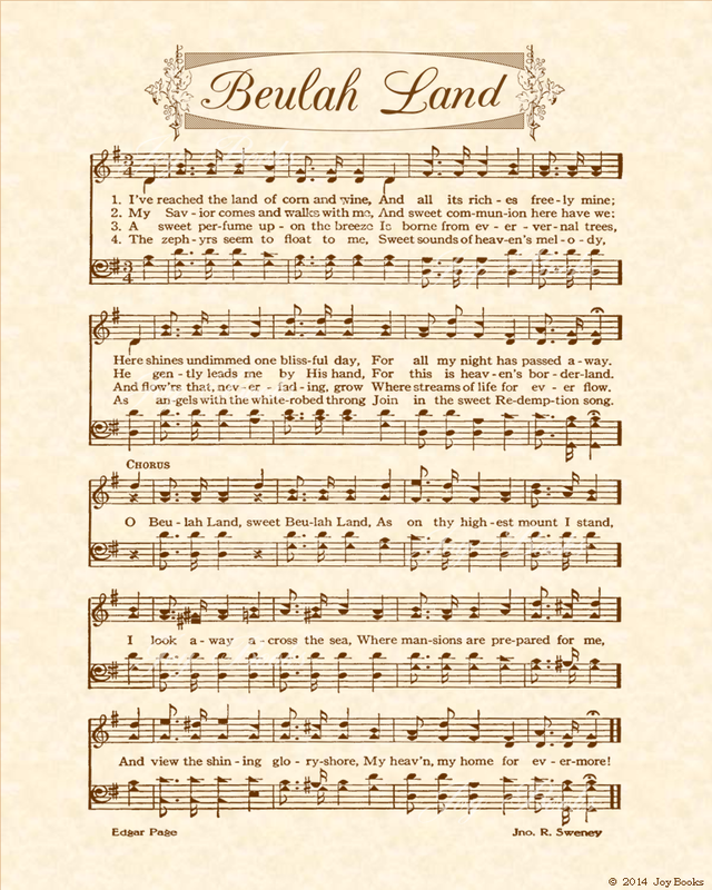 Beulah Land Christian Heritage Hymn Sheet Music Vintage Style Natural Parchment Sepia Brown Ink 8x10 Art Hymn Sheet Music Hymn Music Gospel Song Lyrics