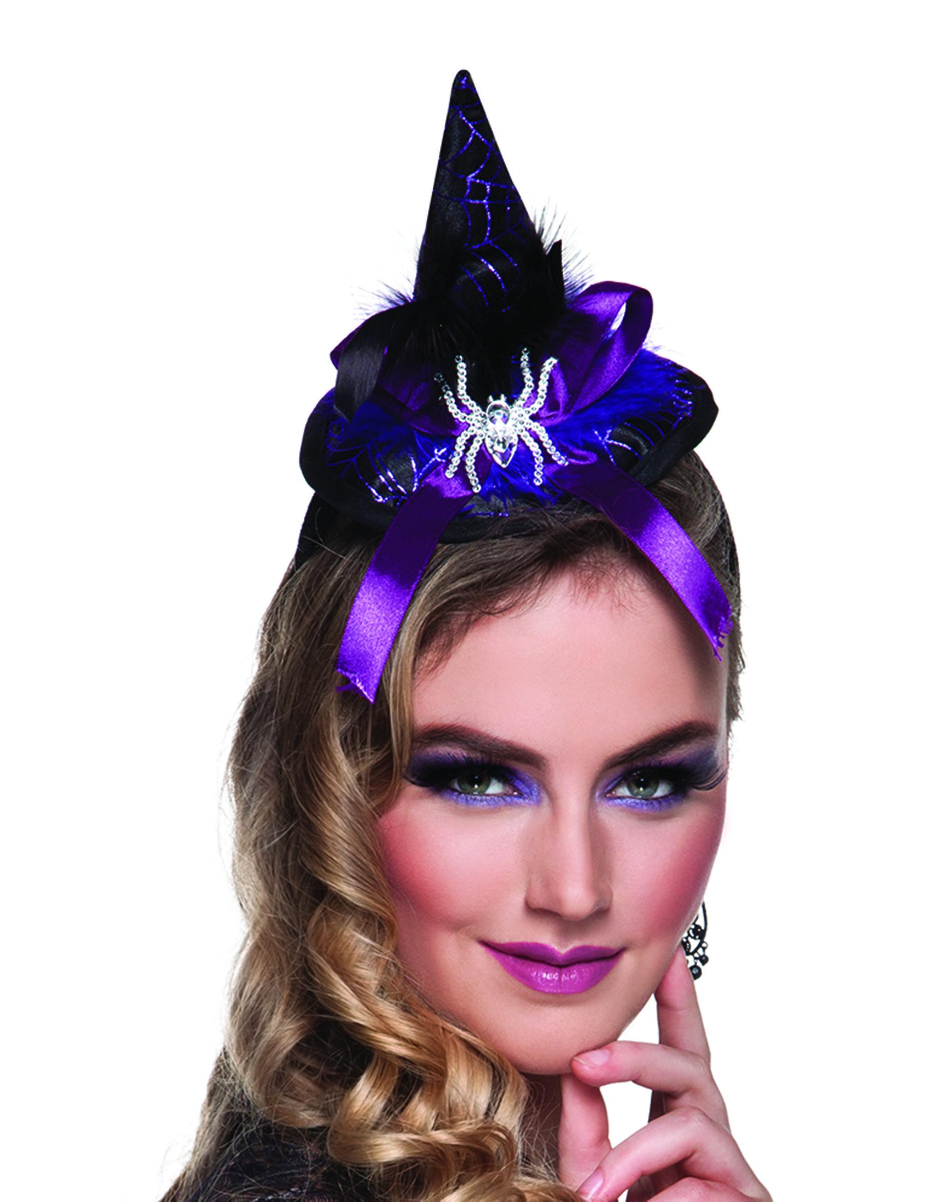 Mini sombrero de bruja araña mujer Halloween  Este mini sombrero para mujer  mide alrededor de 2c1970a50ba