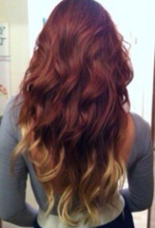 Brown Dip Dyed Hair Brown Red Blond Hair Dip Dye Hair