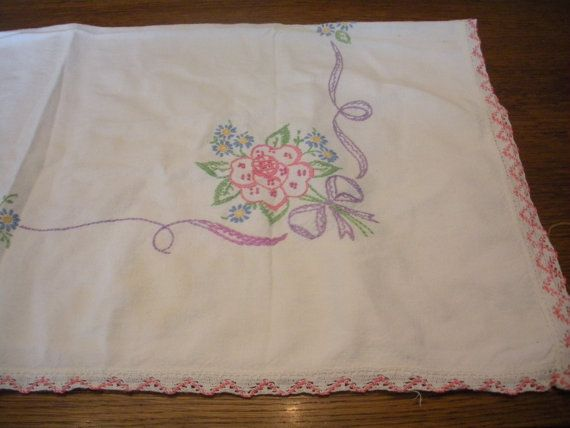 Small Vintage Table Cloth Embroidered with by WhereTheRoosterCrows, $7.50