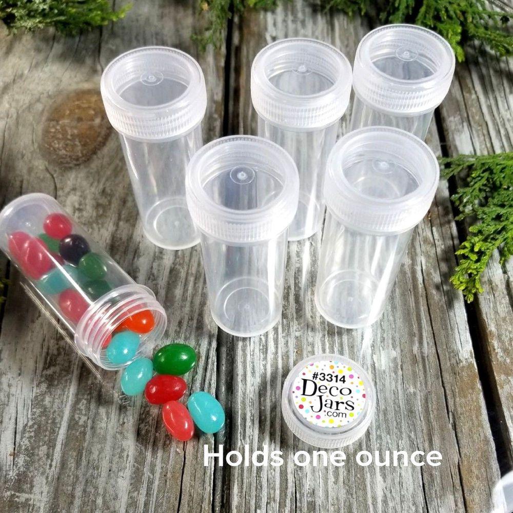 100  Plastic Pill Bottles Black Caps Herbs Party Favors Gag Gift  Meds DecoJars